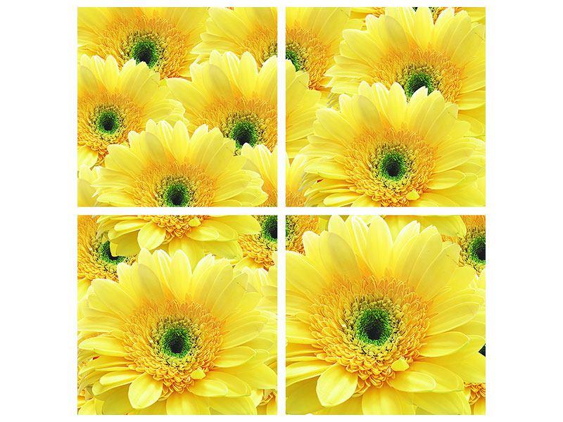 Hartschaumbild 4-teilig Flower Power Blumen