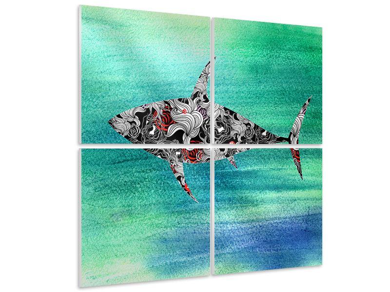 Hartschaumbild 4-teilig Haifisch-Ornament