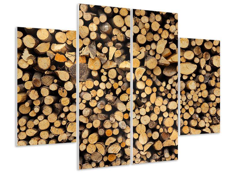 Hartschaumbild 4-teilig Brennholz
