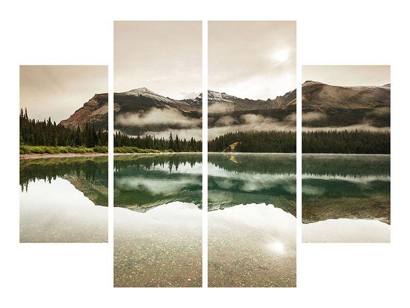 Hartschaumbild 4-teilig Spiegelung im Glacier Nationalpark