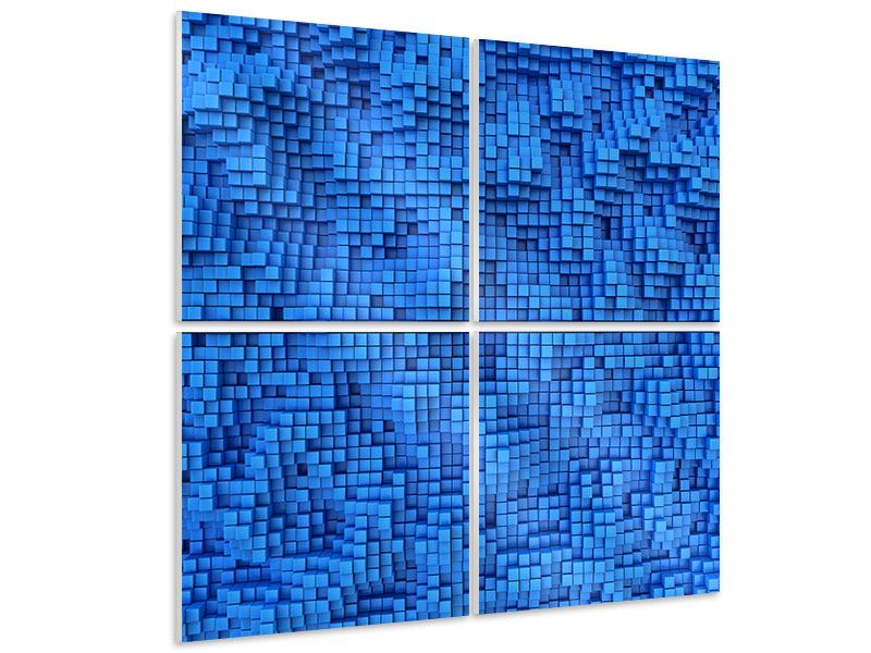 Hartschaumbild 4-teilig 3D-Mosaik