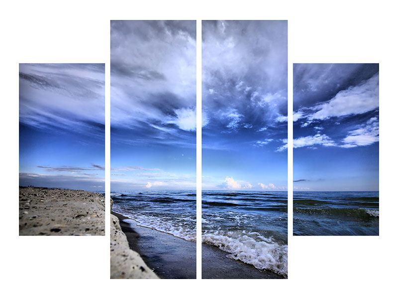 Hartschaumbild 4-teilig Strandwellen