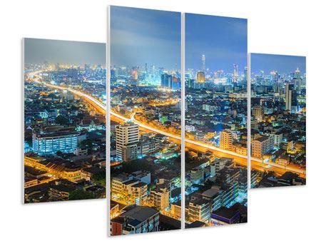Hartschaumbild 4-teilig Skyline Bangkok im Fieber der Nacht