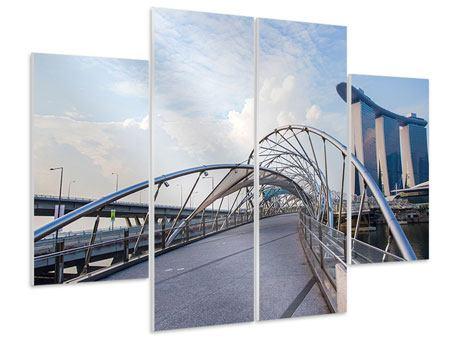 Hartschaumbild 4-teilig Helix-Brücke