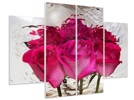 Hartschaumbild 4-teilig Die Rosenspiegelung