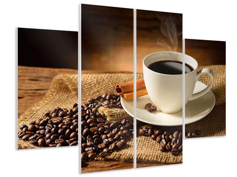 Hartschaumbild 4-teilig Kaffeepause