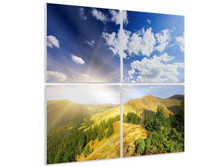 Hartschaumbild 4-teilig Sonnenaufgang im Gebirge