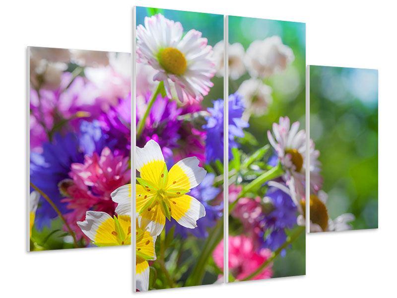 Hartschaumbild 4-teilig XXL Gartenblumen