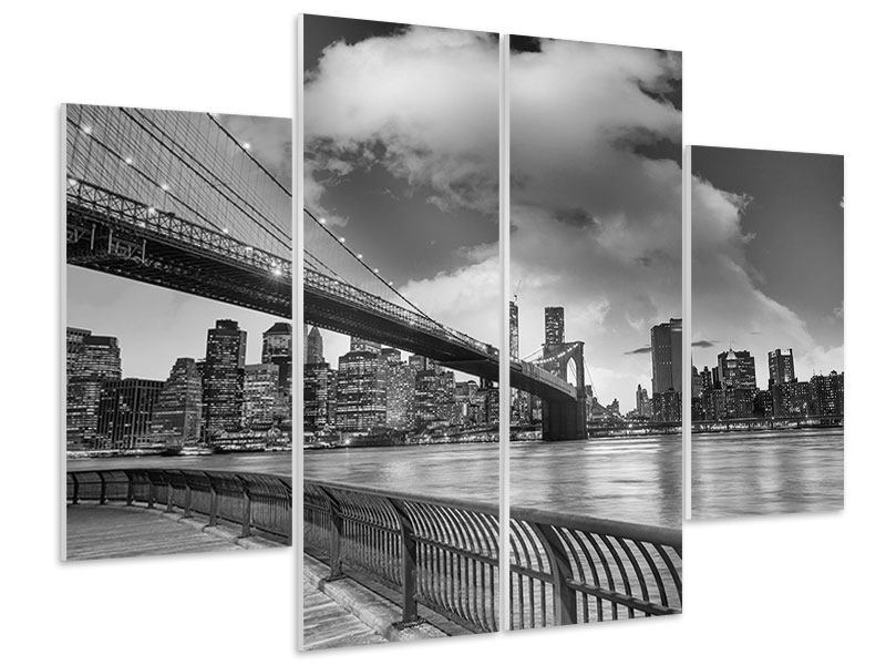 Hartschaumbild 4-teilig Skyline Schwarzweissfotografie Brooklyn Bridge NY