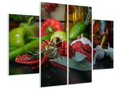 Hartschaumbild 4-teilig Mediterranes Gemüse