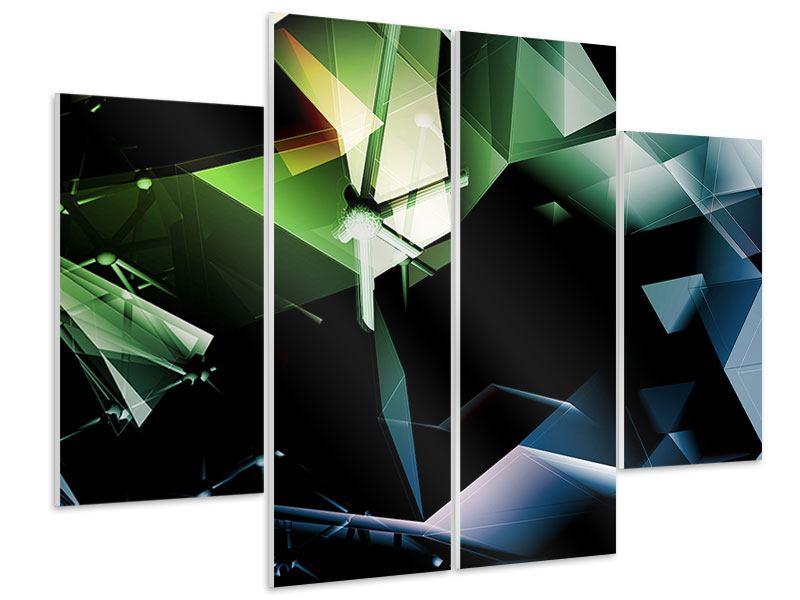 Hartschaumbild 4-teilig 3D-Polygon