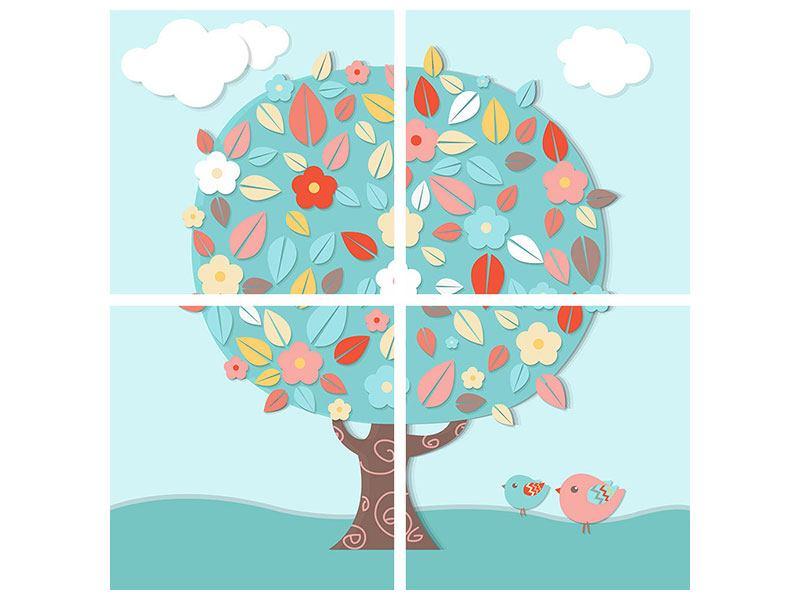 Hartschaumbild 4-teilig Der Kinderzimmer Baum