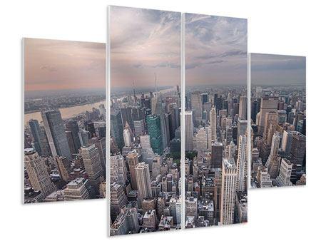 Hartschaumbild 4-teilig Skyline Blick über Manhattan