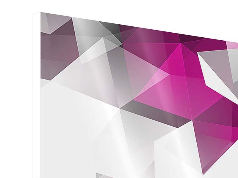 Hartschaumbild 4-teilig 3D-Kristalle Pink