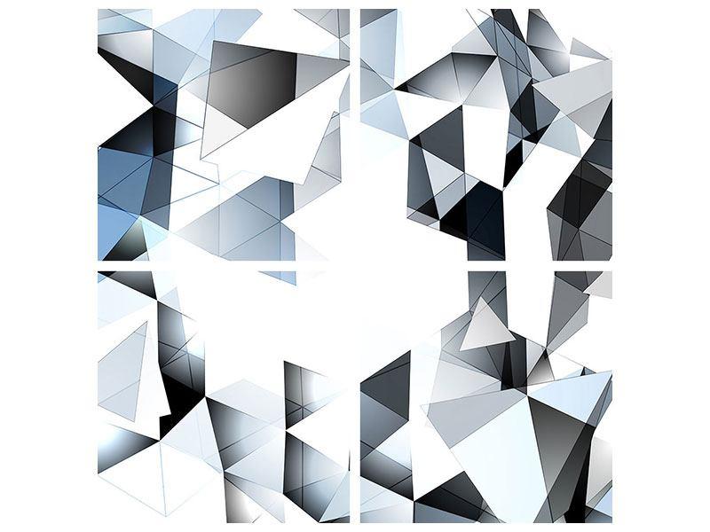 Hartschaumbild 4-teilig 3D-Kristalle