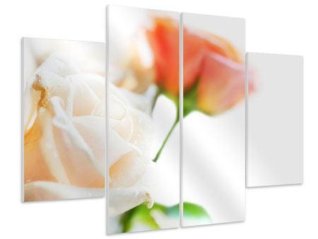 Hartschaumbild 4-teilig Rosenperspektive