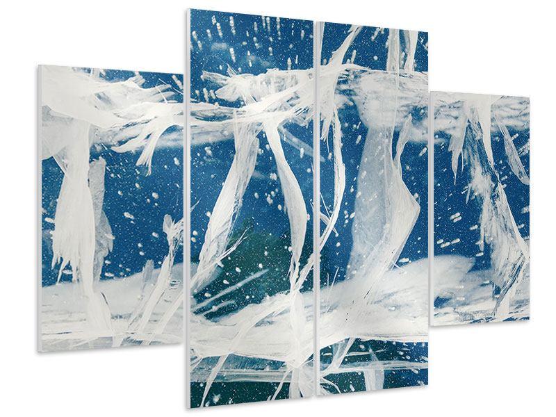 Hartschaumbild 4-teilig Eiskristalle
