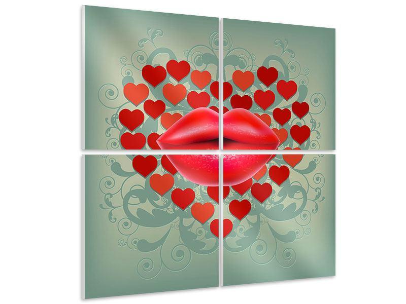 Hartschaumbild 4-teilig Rote Lippen soll man küssen