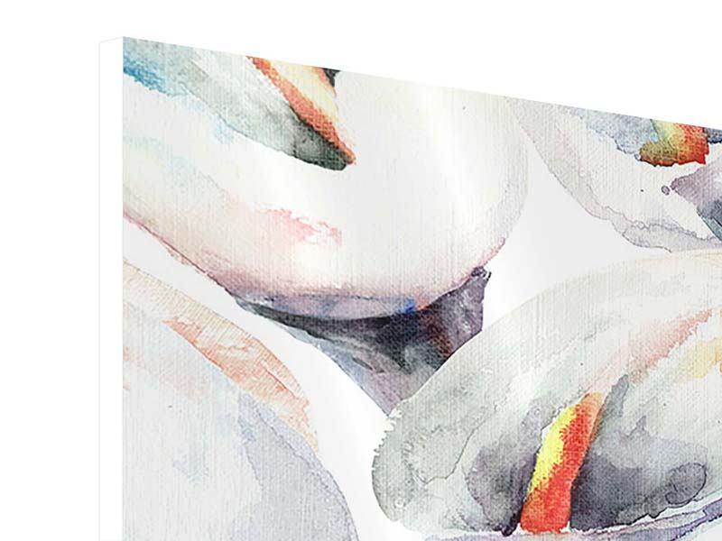 Hartschaumbild 4-teilig Lilien Aquarell