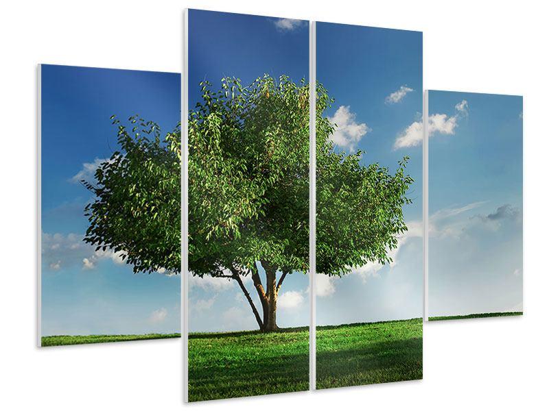 Hartschaumbild 4-teilig Baum im Grün