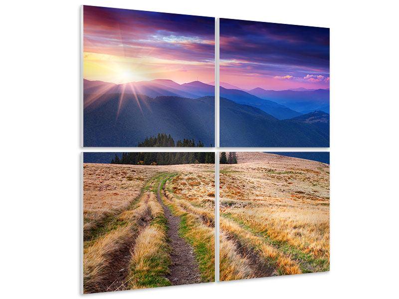 Hartschaumbild 4-teilig Sonnenuntergang in der Bergwelt