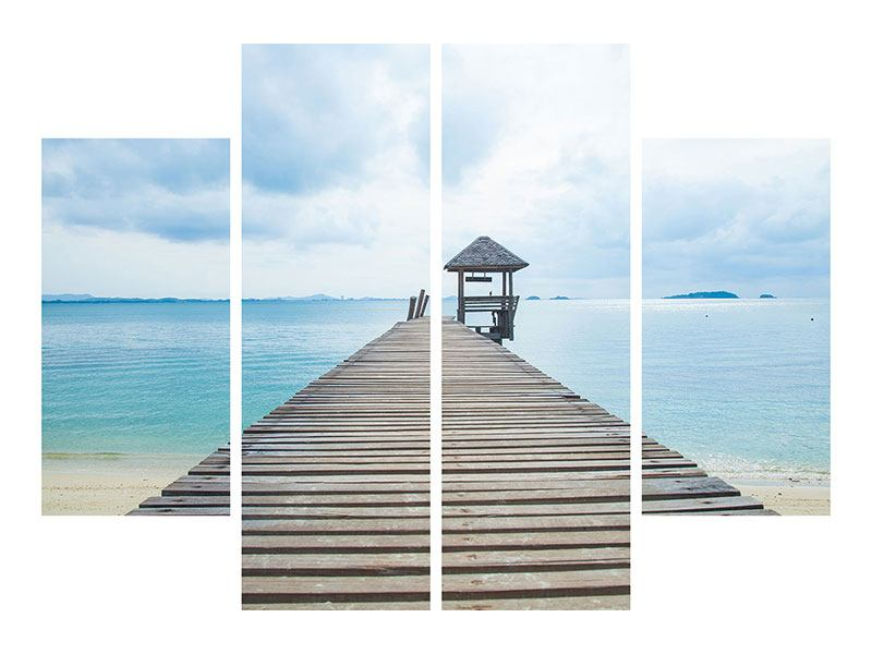 4 Piece Forex Print Ocean Footbridge