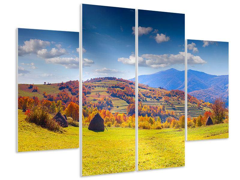 Hartschaumbild 4-teilig Herbstliche Berglandschaft