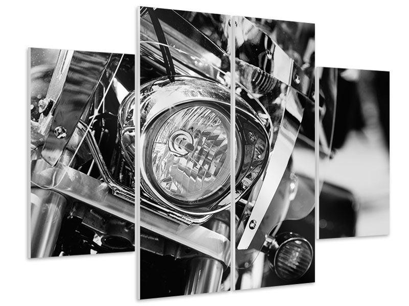 Hartschaumbild 4-teilig Motorrad Close Up