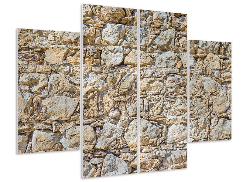 Hartschaumbild 4-teilig Sandsteinmauer