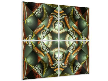 Hartschaumbild 4-teilig Fraktales Bild