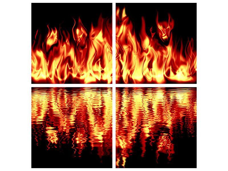 Hartschaumbild 4-teilig Feuerwasser
