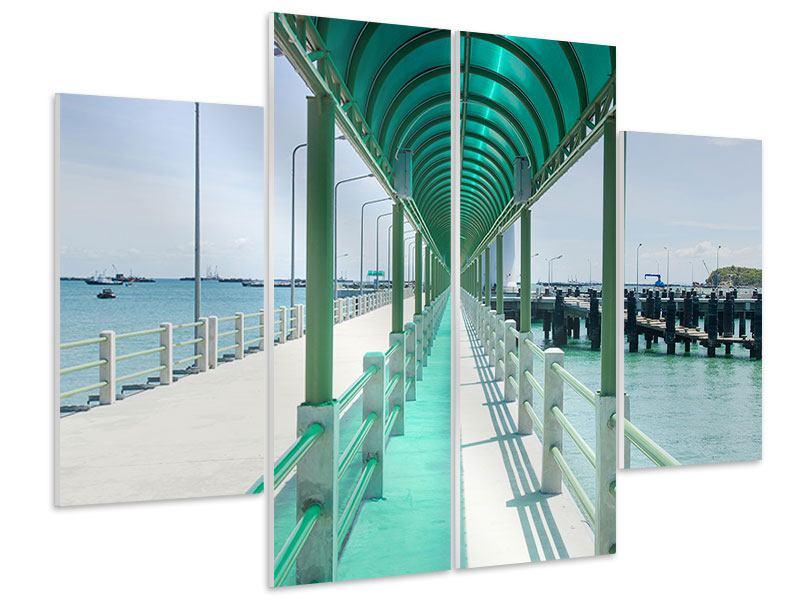 Hartschaumbild 4-teilig Die Brücke am Meer