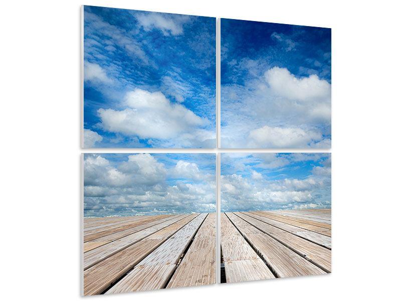 Hartschaumbild 4-teilig Hoch über den Wolken