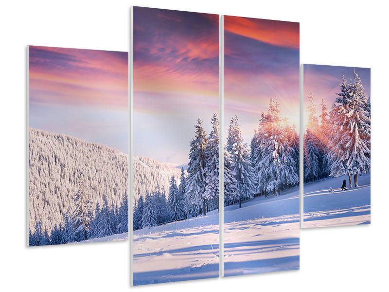 Hartschaumbild 4-teilig Winterlandschaft