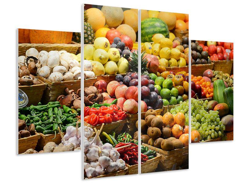 Hartschaumbild 4-teilig Obstmarkt