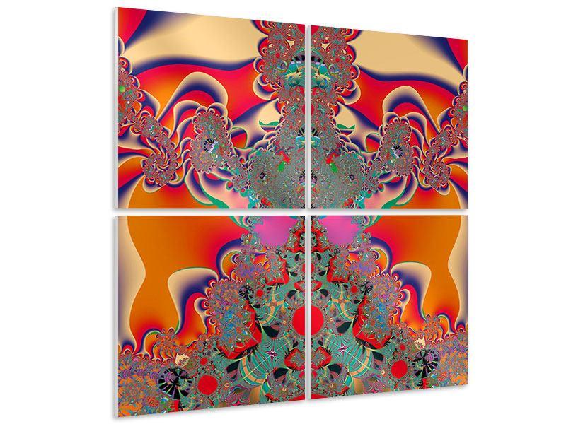 Hartschaumbild 4-teilig Psychedelische Kunst