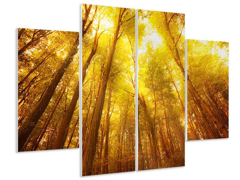 Hartschaumbild 4-teilig Herbstwald