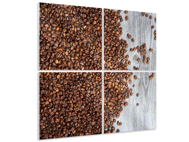 Hartschaumbild 4-teilig Kaffeebohnen