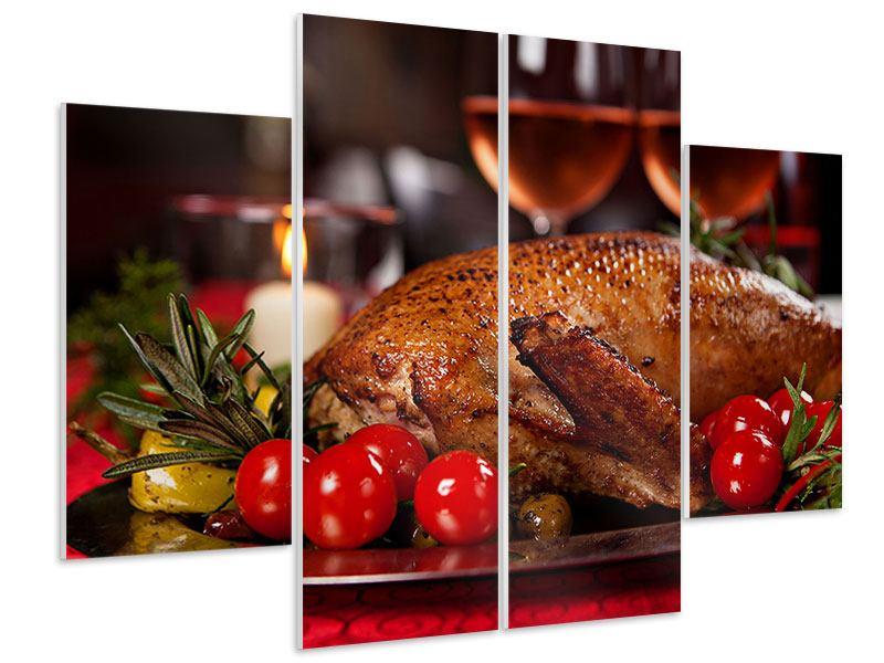 Hartschaumbild 4-teilig Köstliches Geflügel