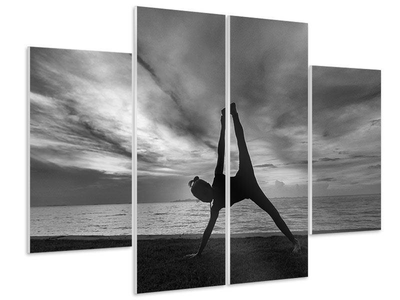 Hartschaumbild 4-teilig Yoga am Strand