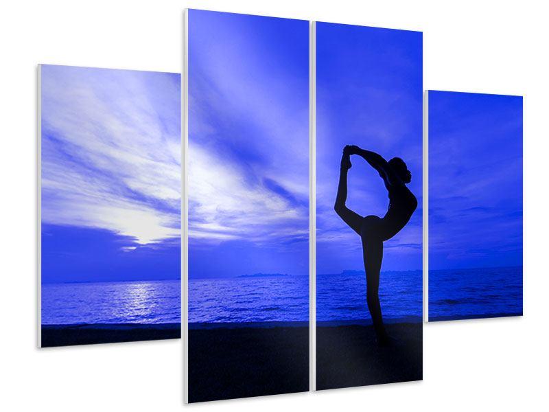Hartschaumbild 4-teilig Yogaübung am Strand