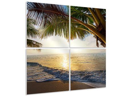 Hartschaumbild 4-teilig Strandsicht