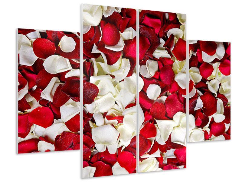 Hartschaumbild 4-teilig Rosenblätter