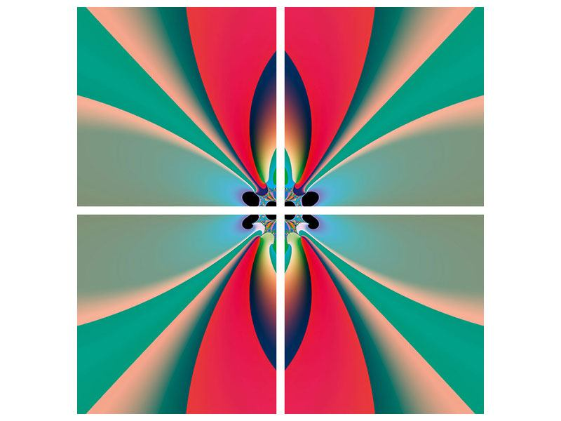 Hartschaumbild 4-teilig Psychedelic Art