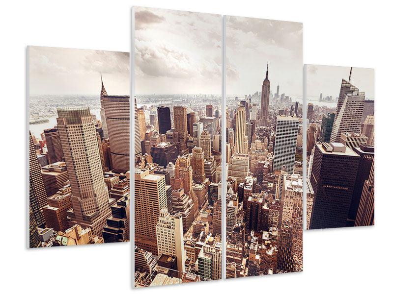Hartschaumbild 4-teilig Skyline Über den Dächern Manhattans