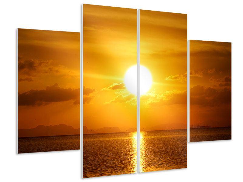 Hartschaumbild 4-teilig Sonnenuntergang See