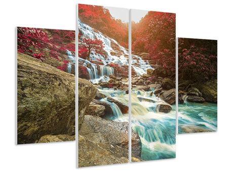 Hartschaumbild 4-teilig Exotischer Wasserfall