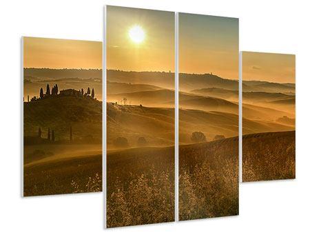 Hartschaumbild 4-teilig Sonnenuntergang im Gebirge