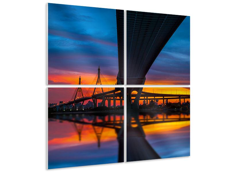 Hartschaumbild 4-teilig Bhumiboll-Brücke bei Sonnenuntergang