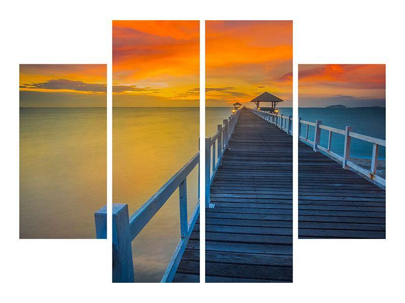 Hartschaumbild 4-teilig Eine Holzbrücke im fernen Osten